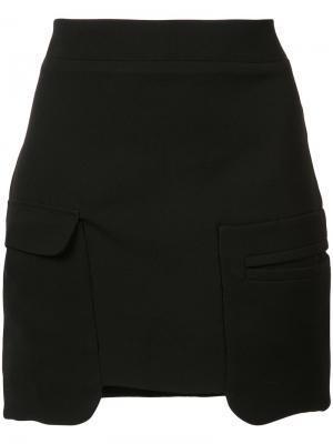 Юбка с накладными карманами Les Animaux. Цвет: чёрный