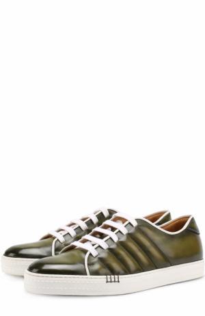 Кожаные кеды на шнуровке Berluti. Цвет: зеленый