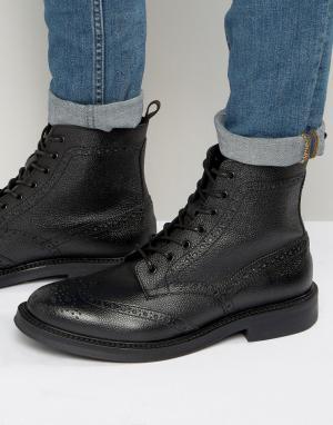 Zign Кожаные ботинки-броги на шнуровке. Цвет: черный
