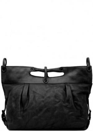 Черная кожаная сумка с одним отделом aunts & uncles. Цвет: черный