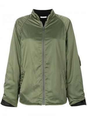 Куртка-бомбер из шелковистой ткани 6397. Цвет: зелёный