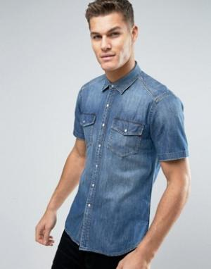 Replay Джинсовая рубашка с карманами и короткими рукавами. Цвет: синий