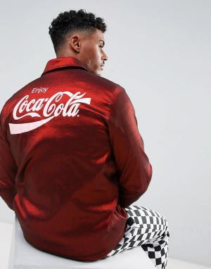 Hype Красная спортивная куртка с подкладкой из искусственного меха и принто. Цвет: красный