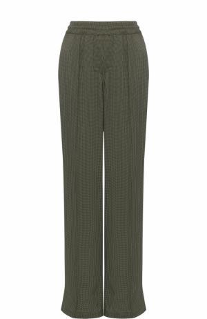Шелковые брюки прямого кроя с эластичным поясом Alexander Terekhov. Цвет: зеленый