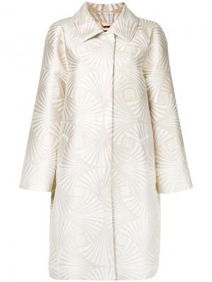 Блестящее пальто Alberta Ferretti. Цвет: металлический