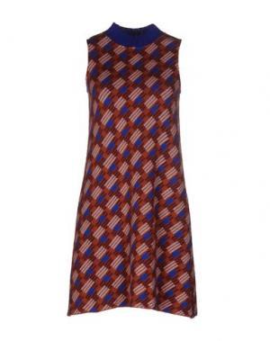 Короткое платье SIYU. Цвет: ржаво-коричневый