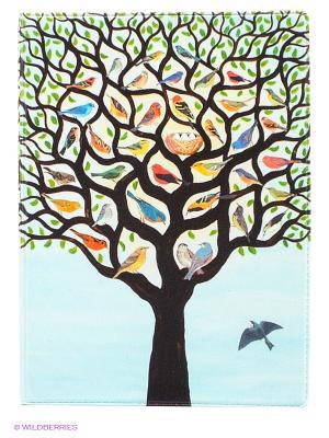 Обложка для паспорта Дерево с птичками Mitya Veselkov. Цвет: светло-голубой, черный, зеленый