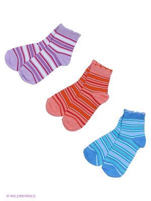 Носки - 3 пары Гамма. Цвет: голубой, сиреневый, оранжевый