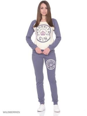 Костюм женский спортивный (джемпер, брюки) MARSOFINA. Цвет: молочный, серый