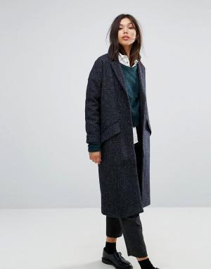 Parka London Длинное шерстяное пальто. Цвет: темно-синий