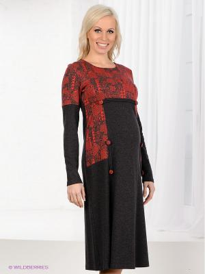 Платье Livaa. Цвет: серый, красный