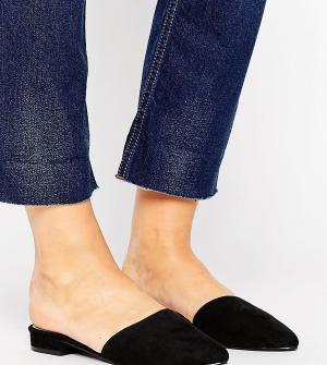 New Look Wide Fit Сабо из искусственной замши для широкой стопы. Цвет: черный