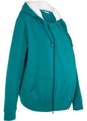 Мода для беременных: триктажная куртка с защитной вставкой малыша (бирюзовый меланж) bonprix. Цвет: бирюзовый меланж