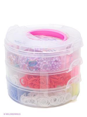 Набор резинок для плетения браслетов Mitya Veselkov. Цвет: белый, зеленый, красный, фиолетовый