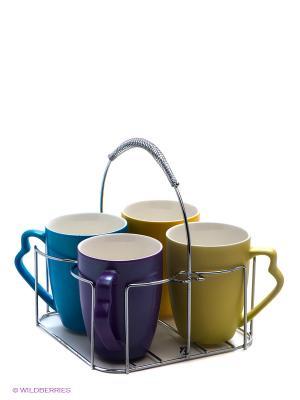 Набор чашек, 5предметов LORAINE. Цвет: фиолетовый, голубой