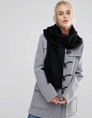 Johnstons of Elgin Черный шарф из мериносовой шерсти. Цвет: черный