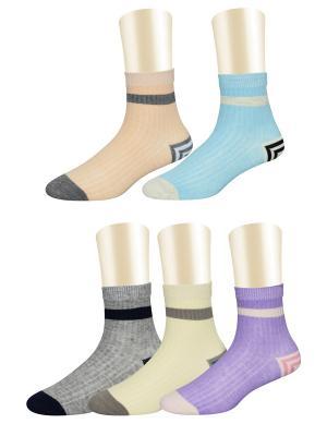 Носки, 5 пар Glamuriki. Цвет: серый, голубой, персиковый