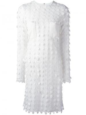 Платье с вышивкой Carven. Цвет: белый