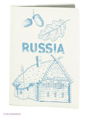 Обложка для автодокументов Mitya Veselkov. Цвет: белый, синий