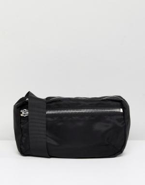 Weekday Нейлоновая сумка-кошелек на пояс. Цвет: черный