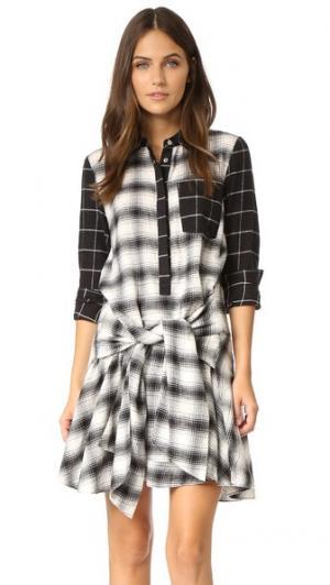 Платье-рубашка с завязками на талии и длинными рукавами Derek Lam 10 Crosby. Цвет: голубой