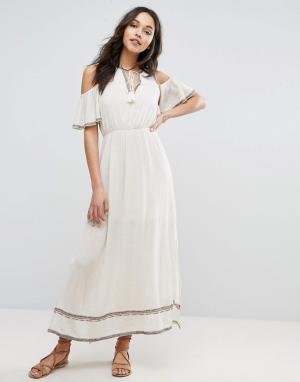 Moon River Платье макси с вышивкой. Цвет: бежевый