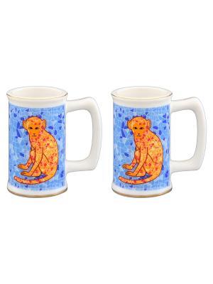 Набор из двух вазочек под зубочистки Обезьянки оранжевые на удачу голубом Elan Gallery. Цвет: голубой, оранжевый