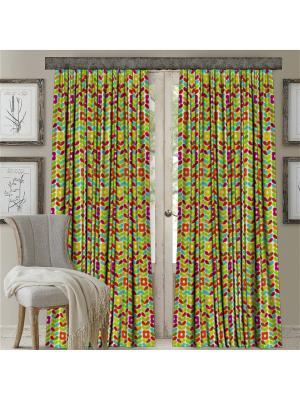 Комплект штор, Радужные цветочки, печать 150*270 МарТекс. Цвет: зеленый, красный