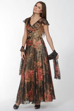 Длинное приталенное платье Lia Mara. Цвет: красный