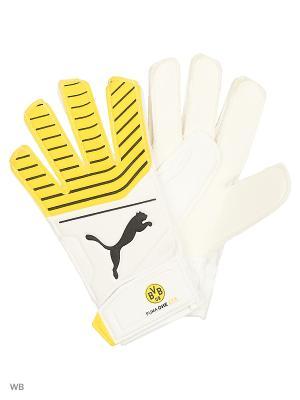 Вратарские перчатки BVB Puma One Grip 17.4. Цвет: белый, желтый