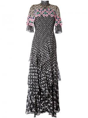 Многоярусное платье с вязаной отделкой Peter Pilotto. Цвет: чёрный