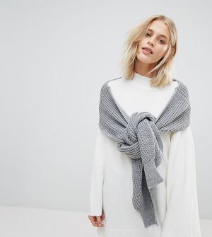 Willow and Paige Свободный джемпер-шарф с манжетами в рубчик. Цвет: серый