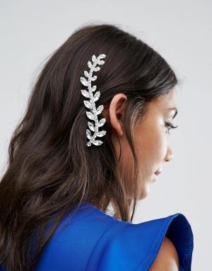 Krystal Заколка для волос с кристаллом Swarovski от London. Цвет: серебряный