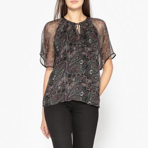 Блузка из вуали с рисунком IKKS. Цвет: бордовый