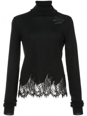 Пуловер с отворотной горловиной и кружевной отделкой Sally Lapointe. Цвет: чёрный