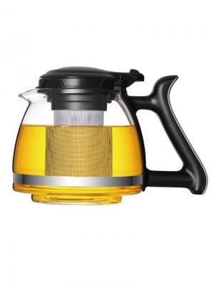 Стеклянный заварочный чайник SY-1200 с металлическим фильтром, 1200 мл Veitron. Цвет: прозрачный, черный