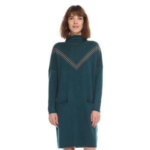 Платье-пуловер короткое однотонное с длинными рукавами CHARLISE. Цвет: сине-зеленый