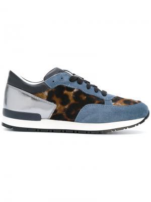 Кроссовки со шнуровкой Pollini. Цвет: синий