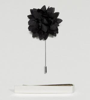 ASOS Свадебный набор с зажимом для галстука и булавкой-цветком лацкана. Цвет: мульти