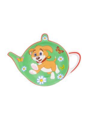 Подставка под чайный пакетик Щенок с бабочками в цветах на зеленом Elan Gallery. Цвет: зеленый, бежевый, белый