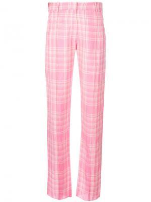 Прямые брюки в клетку Victoria Beckham. Цвет: розовый и фиолетовый