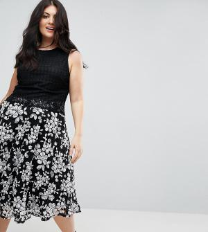 Uttam Boutique Plus Платье А-силуэта с кружевом. Цвет: черный