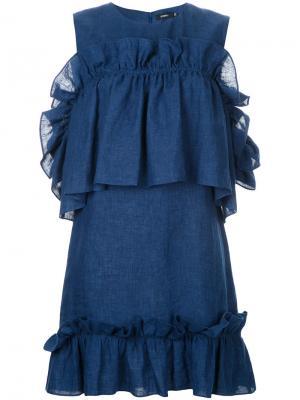 Короткое платье с оборками Goen.J. Цвет: синий