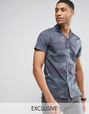 Noak Приталенная рубашка с гавайским принтом и воротником в виде лацканов N. Цвет: темно-синий