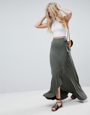 ASOS Трикотажная юбка макси с запахом и поясом. Цвет: зеленый