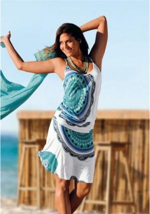 Пляжное платье BEACH TIME. Цвет: синий/с рисунком