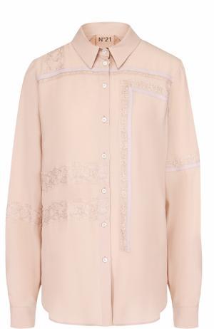 Блуза прямого кроя с кружевной отделкой No. 21. Цвет: бежевый