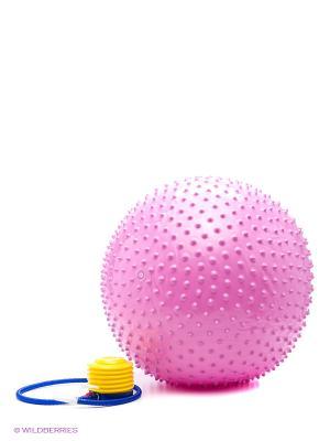 Мяч гимнастический массажный с насосом MG-1 65 см AS4. Цвет: розовый