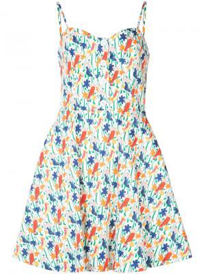 Платье с принтом Bird Party Alice+Olivia. Цвет: белый