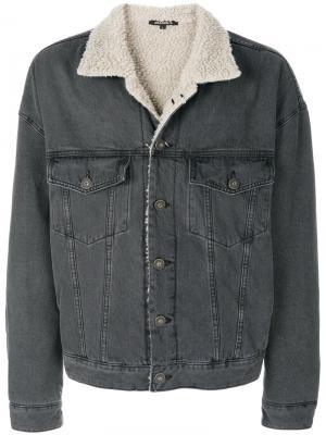 Джинсовая куртка с подкладкой из искусственного меха Yeezy. Цвет: серый